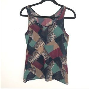 Lucky Brand patchwork pattern top, size XS